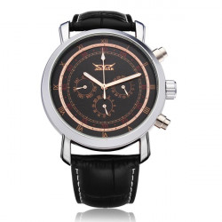 JARAGAR Mechanical PU Leather 3 Dial Black Men Wrist Watch