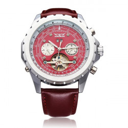 JARAGAR Mechanical Tourbillon PU Leather 3 Dial Red Men Wrist Watch