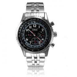 JARAGAR Stainless Steel Band Black Case Quartz Watch