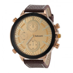 JUBAOLI 1198 Big Dial Leather Band Quartz Watch