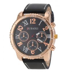 JUBAOLI Big Dial PU Leather Band Sport Watch
