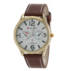 JUBAOLI GMT CHRONOMETER Printed Leather Band Sport Watch