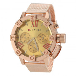 JUBAOLI Gold Big Dial Stainless Steel Band Quartz Watch