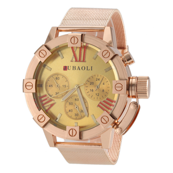 JUBAOLI Gold Big Dial Stainless Steel Band Quartz Watch Watch