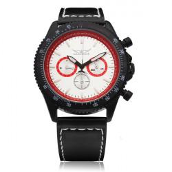 Jaragar Black Leather White 3 Dial Men Mechanical Wrist Watch