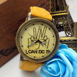 Jeans Band I Can Do It Letters Printed Hands Wrist Watch