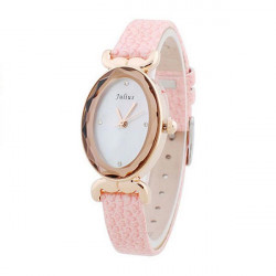 Julius JA-487 Oval Leather Crystal Women Quartz Wrist Watch