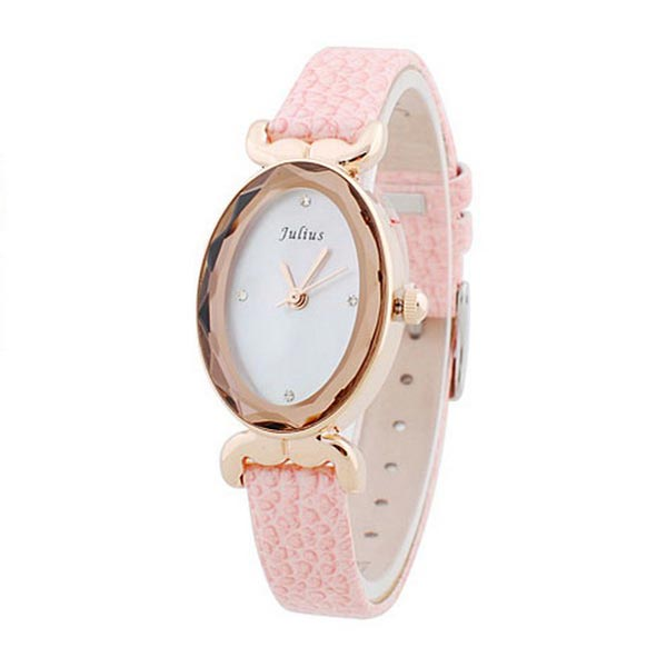 Julius JA-487 Oval Leather Crystal Women Quartz Wrist Watch Watch
