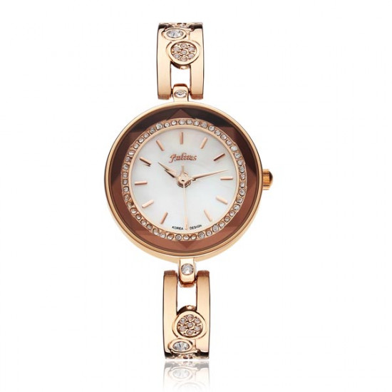 Julius JA-624 Round Crystal Gold Tapered Women Bracelet Watch 2021