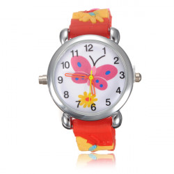 Kid Butterfly LED Light Wrist Watch Random Color