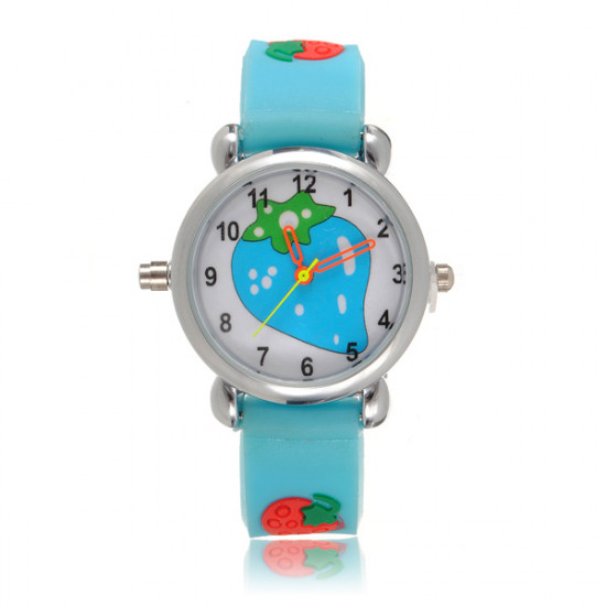 Kid Strawberry LED Light Wrist Watch Random Color 2021
