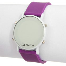 LED Circle Mirror Digital Rubber Fashion Cute Men Wrist Watch