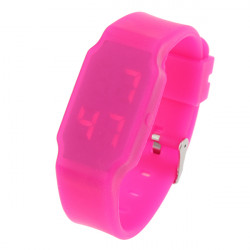 LED Digital Ultra Thin Rubber Square Colorful Children Wrist Watch