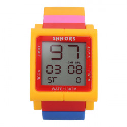 LED Electronic Smooth Rainbow Big Bang Rubber Wrist Watch