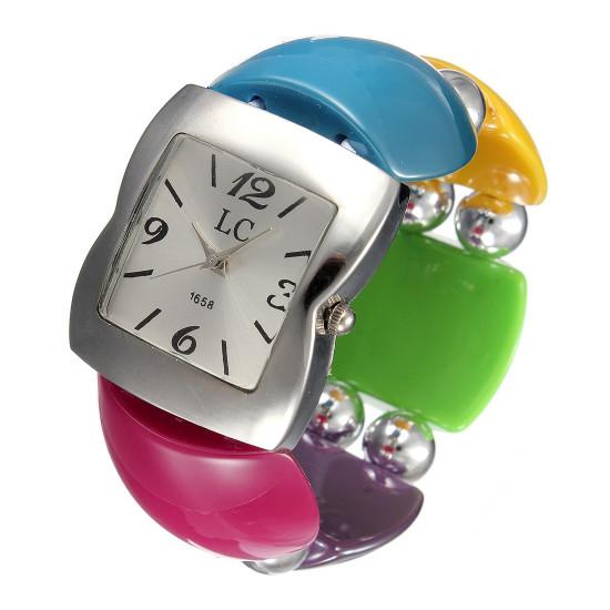 Ladies Hisui Style Silver Beads Elastic Bracelet Bangle Watch 2021