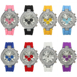 Ladies Silicone Crystal Rhinestone Quartz Jelly Wrist Watch