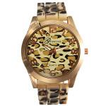 Lady Womens Fashion Gold Leopard Alloy Silicone Quartz Wrist Watch Watch