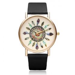 Leaf Feather PU Leather Gold Women Round Quartz Wrist Watch