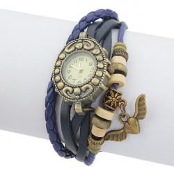 Leather Angel Beads Bronze Knit Vintage Bracelet Women Wrist Watch