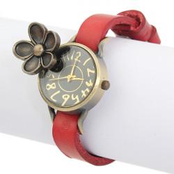 Leather Bronze Flower Vintage Women Bracelet Wrist Watch