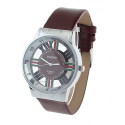 Leather Brown Hollow Cross Couple Men Women Wrist Watch