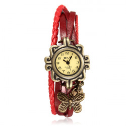 Leather Knit Butterfly Bead Vintage Women Bracelet Wrist Watch