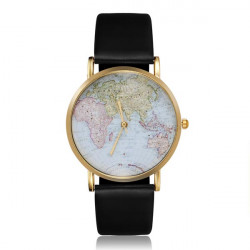Leather Map Glod Black Women Analog Quartz Wrist Watch Alloy