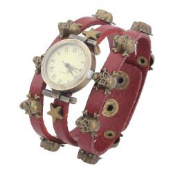 Leather Skull Rivet Bronze Vintage Bracelet Women Wrist Watch