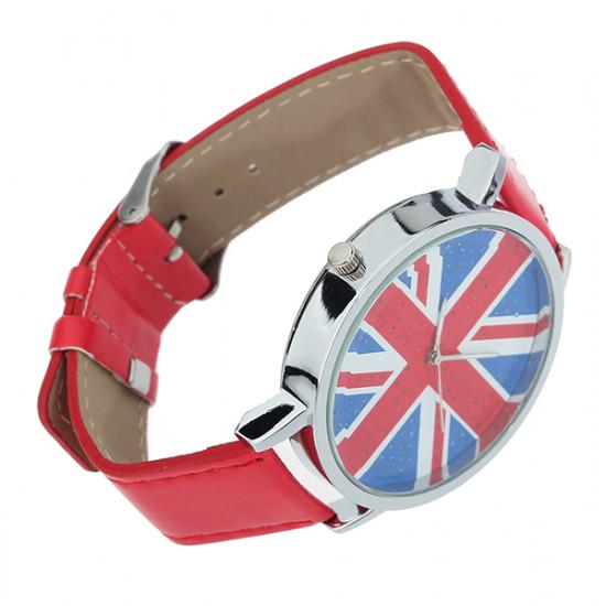 Leather Union Jack Analog Quartz Women Children Wrist Watch 2021