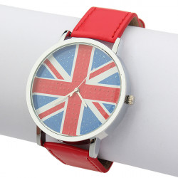 Leather Union Jack Analog Quartz Women Children Wrist Watch
