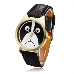 Lovely Sad Dog PU Leather Waterproof Analog Quartz Watch