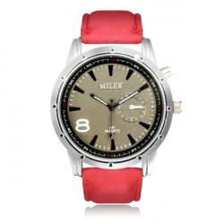 MILER A87 Sport Round PU Leather Women Men Quartz Wrist Watch
