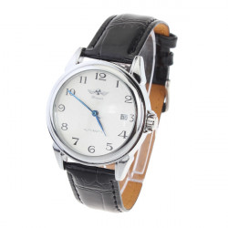 Men AUTO Mechanical Round Leather Day Wrist Watch