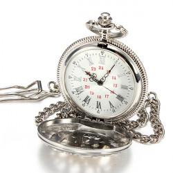 Men Alloy Carved Quartz Big Vintage Dangle Pocket Watch Father Gift
