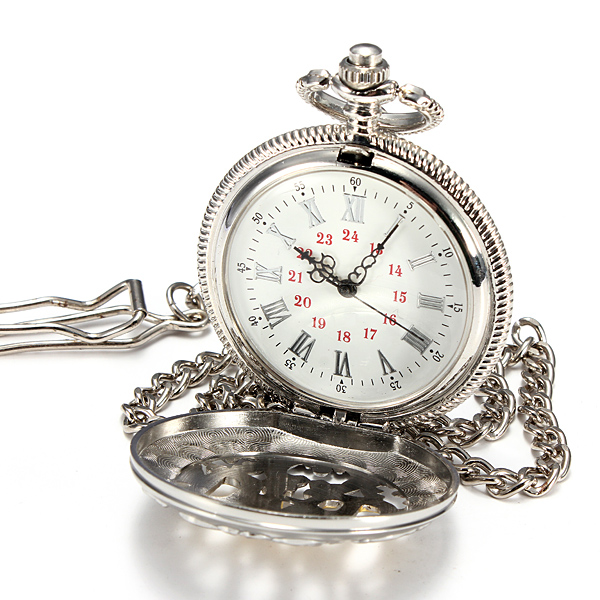 Men Alloy Carved Quartz Big Vintage Dangle Pocket Watch Father Gift Watch