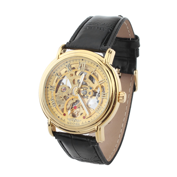 Men Golden Leather Mechanical Luxury Men Wrist Watch