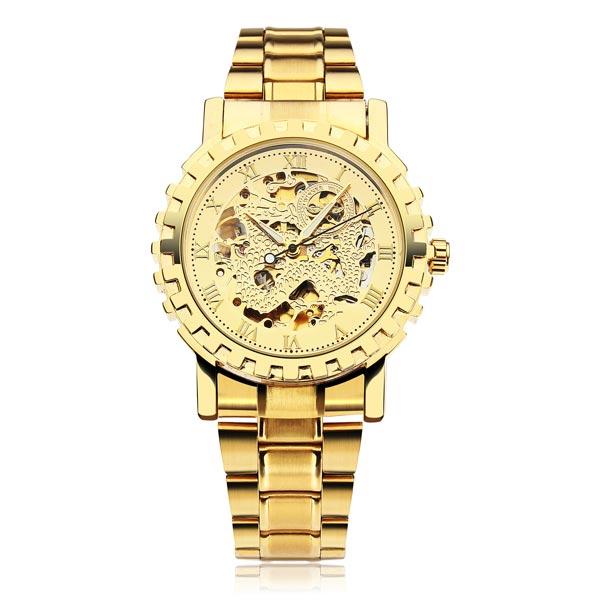 Men Golden Skeleton Mechanical Roman Numeral Luxury Wrist Watch Watch