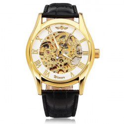 Men Golden Skeleton Mechanical Roman Numeral Wrist Watch