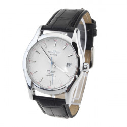 Men Mechanical Round Leather Simple Style Day Wrist Watch