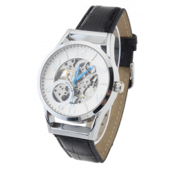 Men Mechanical Round Leather Simple Style Wrist Watch