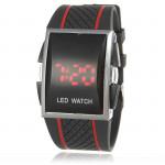 Men Red Light LED Digital Silicone Rectangle Quartz Wrist Watch Watch