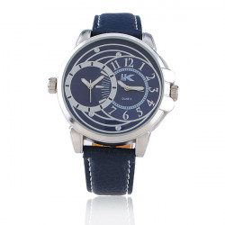 Men Round Fashion Leather Quartz Wrist Watch