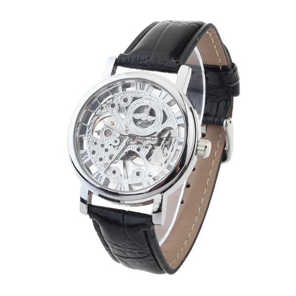 Men Silver Skeleton Mechanical Luxury Men Wrist Watch Watch