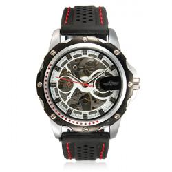 Men Sport Skeleton Automatic Mechanical Silicone Black Wrist Watch