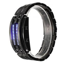 Men Women Black Silver Stainless Steel Date Digital LED Sport Watch
