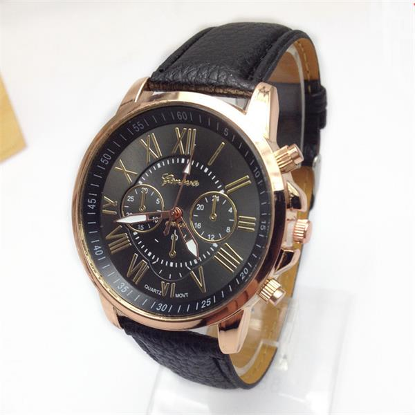 Men WomenThree Eyes Roman Numbers Leather Quartz Watch Watch