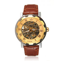 Mens Skeleton Mechanical Stainless Steel Leather Sport Watch