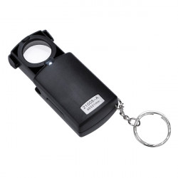 Mini Pocket 45X LED Fold Magnifier Microscope Glass Lens
