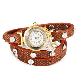 Moon Star Crystal Rhinestone Women Bracelet Leather Quartz Watch