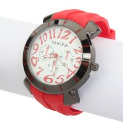 Multicolor Silicone Analog Black Quartz Sport Buckle Women Wrist Watch
